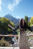 Tourist posing in the foothills of the Atlas Mountains stock photos
