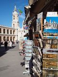 Loreto medieval town in central Italy. Tourist post card in a kiosk in the medieval city of Loreto. Marche Region, central Italy stock photography