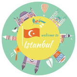 Tourist poster with famous destinations and landmarks of Istanbul. Tourist poster of Istanbul with famous destinations and landmarks stock illustration