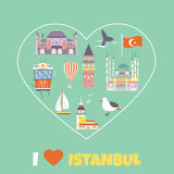Tourist poster with famous destinations and landmarks of Istanbul. Explore Istanbul concept image vector illustration