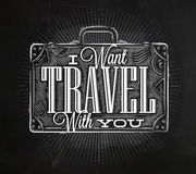 Tourist poster suitcase chalk Royalty Free Stock Image