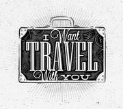 Tourist poster suitcase Stock Images