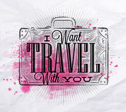 Tourist poster suitcase pink Stock Photo