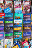 Tourist posters and atlases photo albums for tourists of the city of Istanbul visitors sale in a street shop. ISTANBUL, TURKEY - 1 APRIL , 2017:Tourist posters Royalty Free Stock Photos