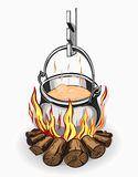 Tourist pot of food on a fire. Image tourist pot of food on a fire. Colored on white background Stock Photo
