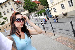 Tourist in Prague Stock Image