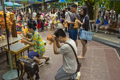 Tourist praying on Ratchaprasong Erawan shrine Royalty Free Stock Photo