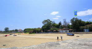 Tourist prepare to play parasail on the beach Royalty Free Stock Image