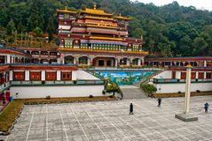 Tourist at Ralang Monastery. Ralang Monastery is a Buddhist monastery of the Kagyu sect of Tibetan Buddhism in southern Sikkim, northeastern India. Ralang Royalty Free Stock Photography