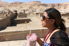 Tourist at Ramesseum temple in Luxor - Egypt Royalty Free Stock Photography