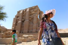 Tourist at Ramesseum temple in Luxor - Egypt Royalty Free Stock Photo