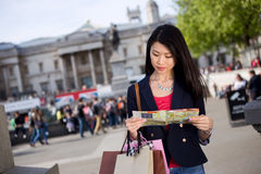 Tourist reading map Stock Photos
