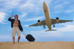 Tourist ready for travel by plane, travel concept Royalty Free Stock Photo