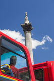 Tourist on Red Bus Looking at Nelson`s Column London England Stock Image