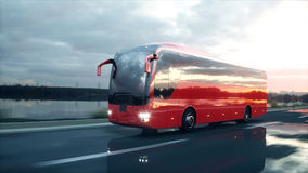 Tourist red bus on the road, highway. Very fast driving. Touristic and travel concept. 3d rendering. Tourist red bus on the road, highway. Very fast driving Stock Images