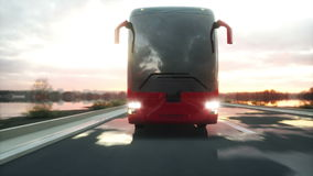 Tourist red bus on the road, highway. Very fast driving. Touristic and travel concept. realistic 4k animation. Tourist red bus on the road, highway. Very fast stock footage
