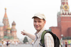 Tourist on Red Square, Moscow, Russia Stock Photo