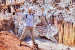 Tourist rejoices in journey of natural attractions. Hormuz Islan Stock Image