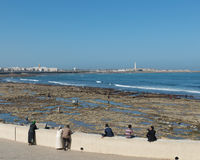 The tourist relax at the beach of Casablanca Royalty Free Stock Image