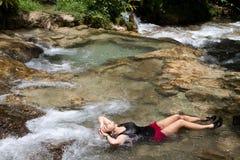 Tourist Relaxing Jamaica Royalty Free Stock Photos