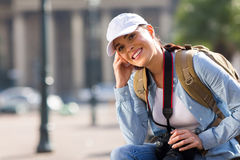 Tourist relaxing in town Stock Images