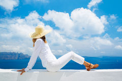Tourist Relaxing on Vacation Stock Photos