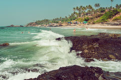 Tourist relaxing in waters of ocean with palm tree beach, Goa state, India. Royalty Free Stock Photography