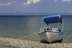 Tourist rented boat on the beach Royalty Free Stock Images
