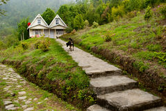A tourist resort at hill top. A tourist resort made by wood at hill top in Rishap, near Kalimpong at Darjeeling.Rishap small village on the hill top can be Stock Photos