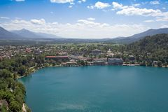 Tourist resort over a lake. Tourist resort of bled lake in slovenia Royalty Free Stock Image