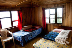 A tourist resort at Rishap. An inside view of a tourist resort made by wood at hill top in Rishap, near Kalingpong at Darjeeling, India.Rishap small village on Royalty Free Stock Photos