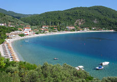 Tourist resort on Skopelos island. Panorama. Royalty Free Stock Photos