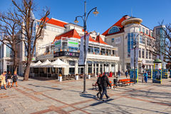 Tourist Resort Sopot. People on Monte Cassino street with many shops, clubs, galleries, on April 15, 2016 in Sopot, Poland Royalty Free Stock Photo
