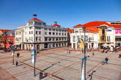 Tourist Resort Sopot. People on Monte Cassino street with many shops, clubs, galleries, on April 15, 2016 in Sopot, Poland Stock Images