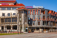 Tourist Resort Sopot. People on Monte Cassino street with many shops, clubs, galleries, on April 15, 2016 in Sopot, Poland Royalty Free Stock Images