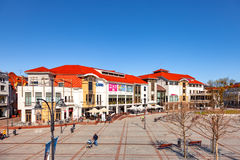 Tourist Resort Sopot. People on Monte Cassino street with many shops, clubs, galleries, on April 15, 2016 in Sopot, Poland Royalty Free Stock Image