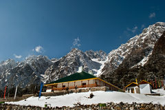 Tourist rest house. A forest rest house is the only permanent residence apart from some temporary tourist huts in the Yumthang valley, Sikkim, India. The town of Stock Image
