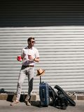 Tourist rest tiredness travel vacation. Tourist coffee break. rest to continue journey. travel tiredness. summer holiday vacation concept royalty free stock photography