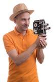 Tourist with retro camera Royalty Free Stock Photos