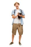 Tourist retro camera travel photographer Royalty Free Stock Photo