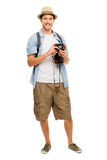 Tourist retro camera travel photographer Royalty Free Stock Images
