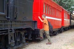 Tourist ride sightseeing train Stock Photo