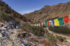 Tourist ride yak with tamer who pull and control him to walk on the mountain with Tibetan prayer flags in winter in Tashi Delek Royalty Free Stock Photo