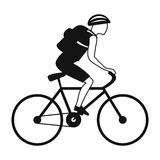 Tourist riding a bicycle with backpack Royalty Free Stock Photography