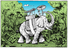 Tourist Riding an Elephant in Indian Rain Forest. A hand drawn illustration of a tourist riding a domesticated elephant through the Indian rain forest. The Stock Photo