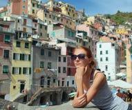 Tourist in Riomaggiore Stock Photography