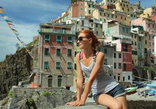 Tourist in Riomaggiore Stock Photo