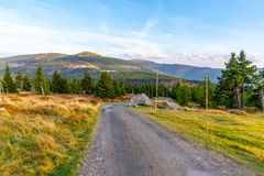 Tourist road in the middle of mountain landscape, Giant Mountains, Krkonose, Czech Republic royalty free stock photography