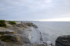 Tourist  at rock formations by coastline. At the island oland in Sweden Royalty Free Stock Images