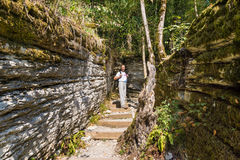 The tourist in the rocky maze that occurred 20 million years ago by tectonic faults on the territory of the yew & boxwood grove in Royalty Free Stock Images